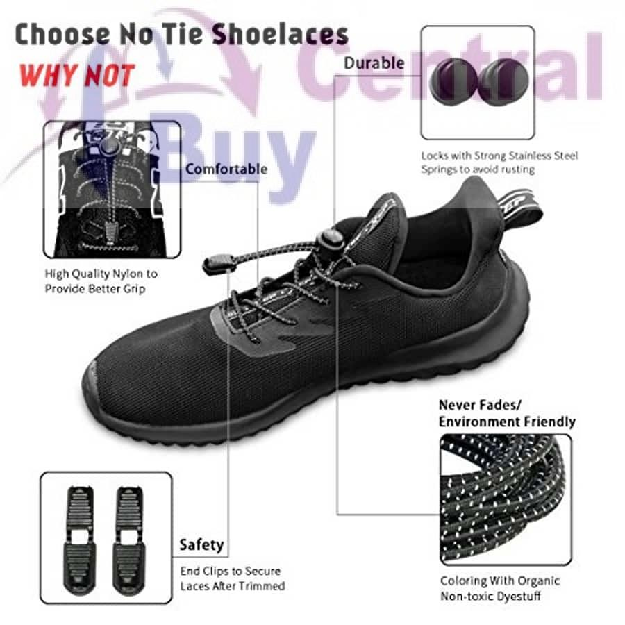 2x Elastic No-Tie Locking Shoelaces Shoe Laces With Buckles For Sport Shoes Hot